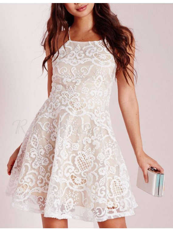 Short White Lace Halter Dress