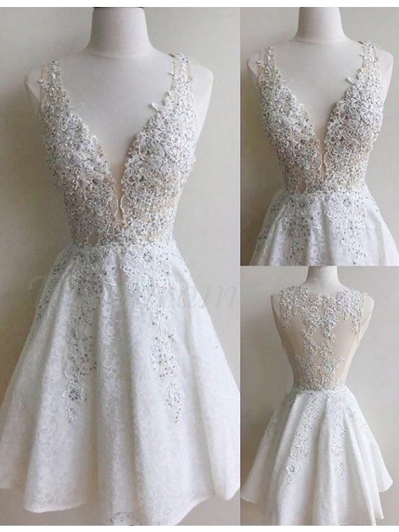 A-Line Deep V-Neck White Lace Short Homecoming Cocktail Dress with Appliques Beading