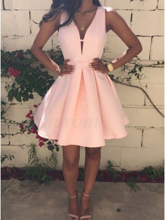A-Line Deep V-Neck Pink Short Satin Homecoming Dress
