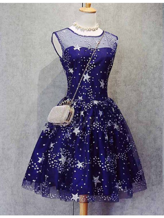 A-Line Scoop Royal Blue Tulle Short Homecoming Dress with Appliques
