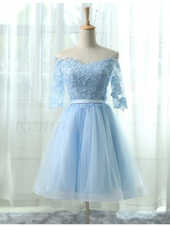 29a627c0eb4 A-Line Off the Shoulder Half Sleeves Light Blue Homecoming Dress ...