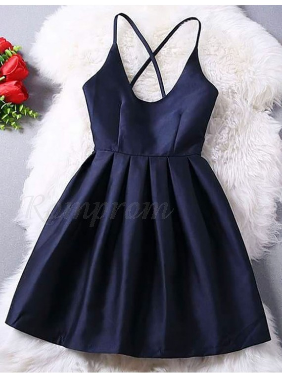 Dark Blue Short Homecoming Dresses with Straps