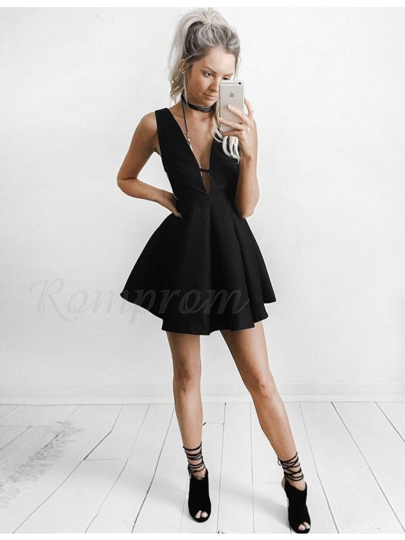 A-Line Deep V-Neck Black Satin Short Homecoming Dress with Pleats