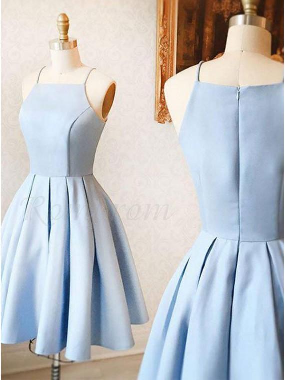 A-Line Spaghetti Straps Knee-Length Sky Blue Satin Prom Homecoming Dress