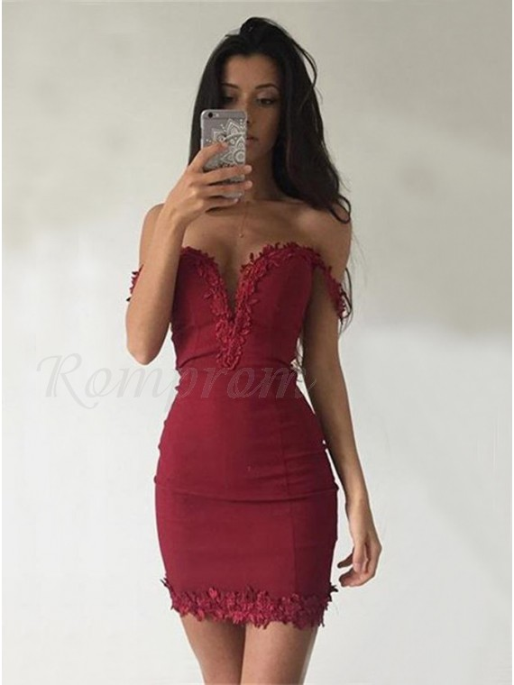 1696e6cd67c5 Sheath Off-the-Shoulder Short Red Stretch Satin Homecoming Dress ...