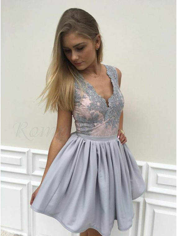 A-line V-Neck Grey Satin Short Homecoming Dress with Appliques