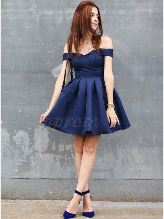 b2d0f9ede64 A-Line Off-the-Shoulder Short Navy Blue Homecoming Dress -  87.99 ...