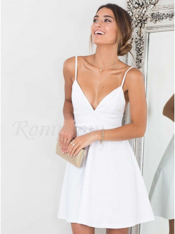 A-Line Spaghetti Straps White Satin Homecoming Dress