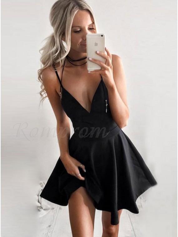 A-Line Spaghetti Straps Sleeveless Short Black Satin Homecoming Dress