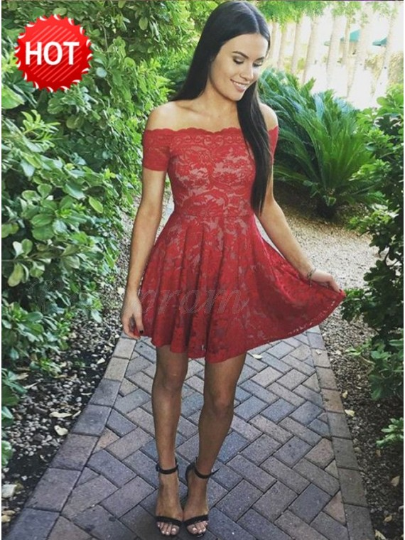 A-Line Off-the-Shoulder Short Sleeves Red Lace Homecoming Dress