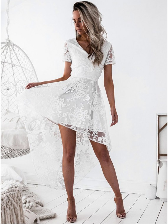 High Low V-Neck Short Sleeves Criss-Cross Straps White Lace Prom/Homecoming Dress
