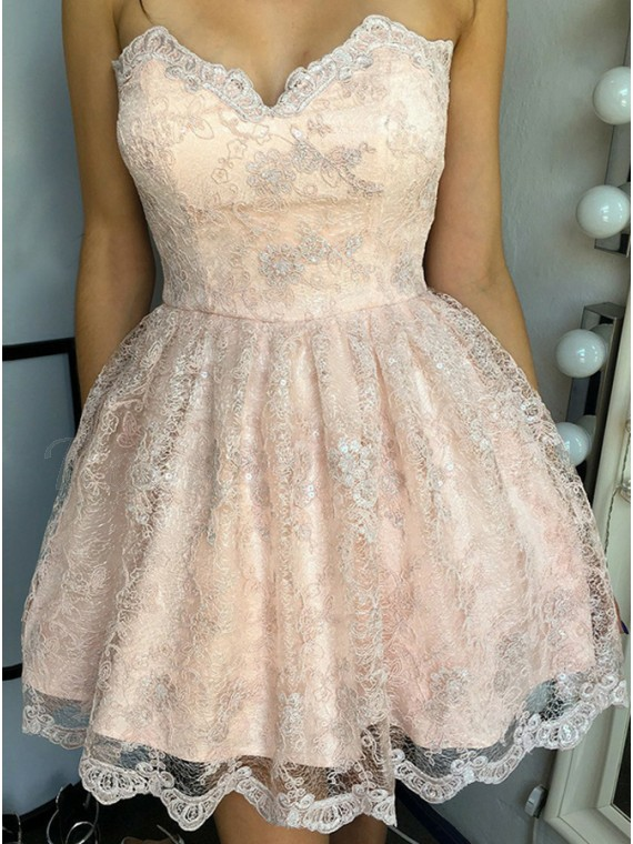 A-Line Sweetheart Lace-Up Pearl Pink Lace Homecoming Dress