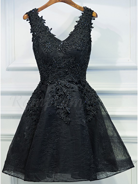 A-Line V-Neck Appliques Short Black Homecoming Dress
