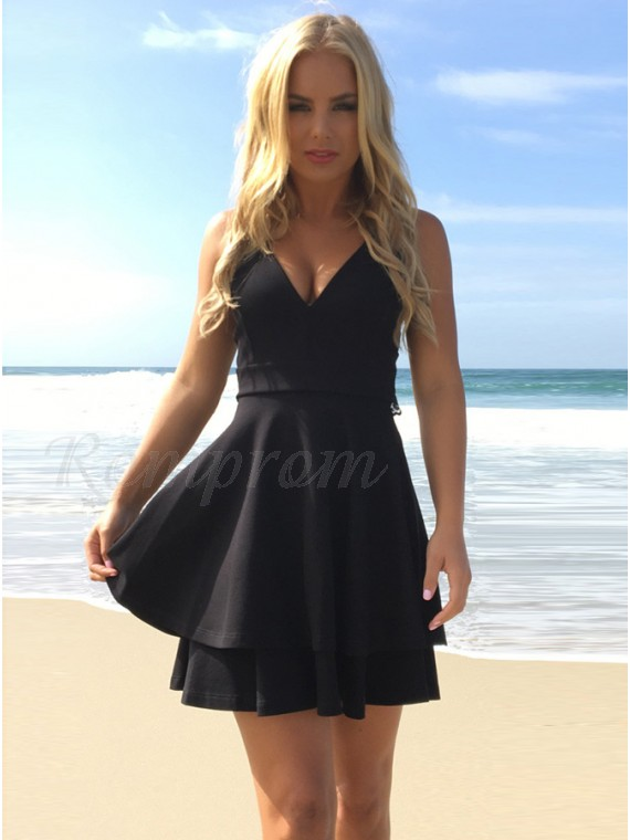 175f1a7512dc A-Line V-Neck Open Back Little Black Dress with Lace - $82.99 only ...