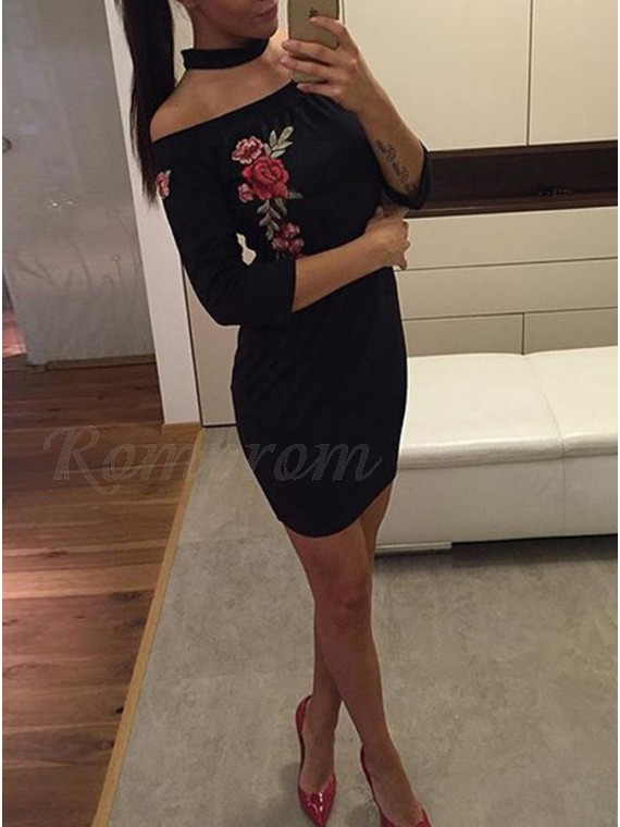 Bodycon Off-the-Shoulder 3/4 Sleeves Appliques Little Black Dress