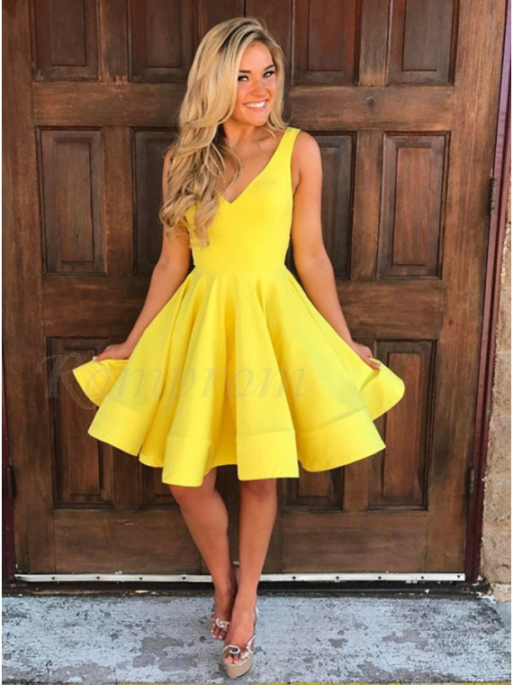 A-Line V-Neck Sleeveless Short Yellow Satin Homecoming Dress