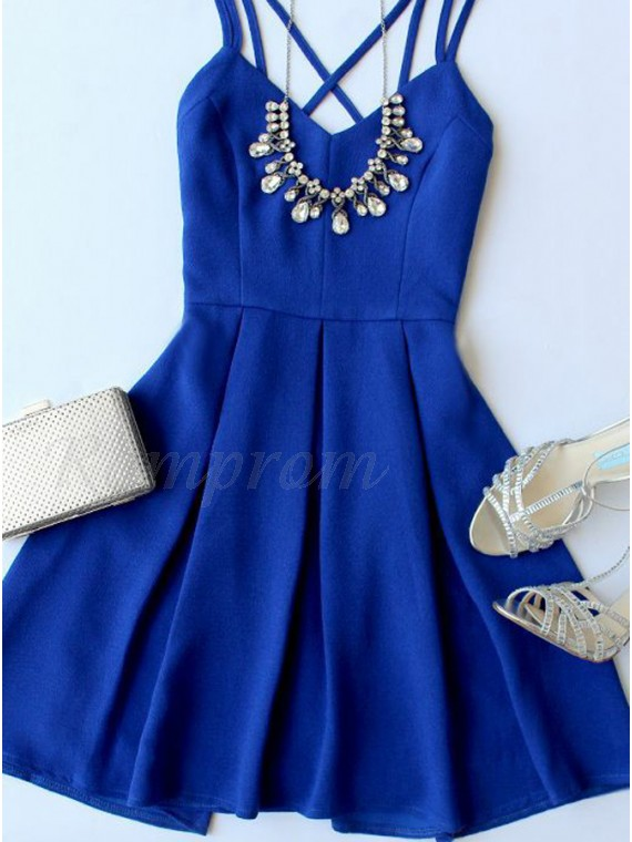 A-Line Spaghetti Straps Royal Blue Stretch Satin Homecoming Dress