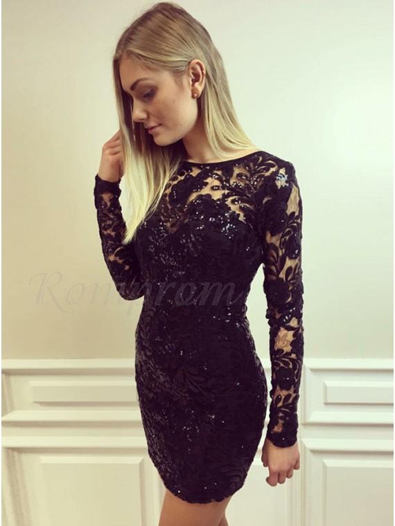 Bodycon Jewel Long Sleeves Lace Little Black Dress