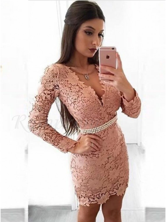 Sheath V-Neck Long Sleeves Blush Lace Homecoming Dress with Pearls