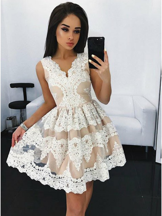 A-Line V-Neck Appliques White Homecoming Dress