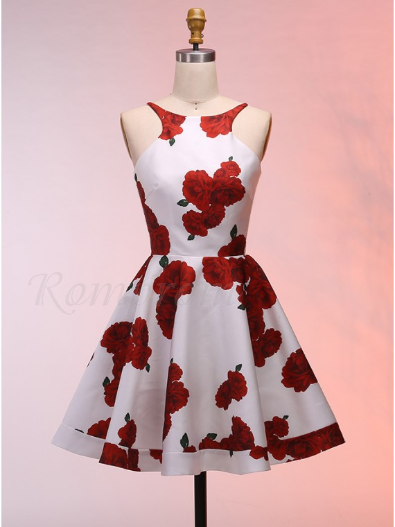 A-Line Round Neck Backless Sexy Short Floral Homecoming Dress