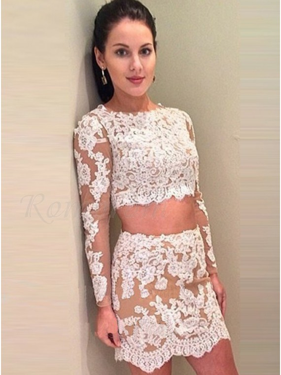 Two Piece Bateau Long Sleeves Champagne Homecoming Dress with Appliques