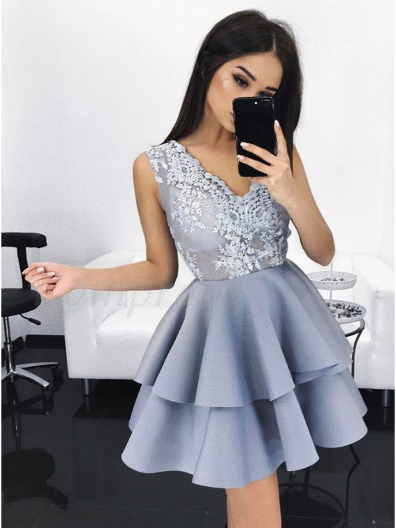 A-Line V-Neck Short Light  Blue Satin Homecoming Dress with Appliques Tired