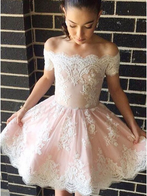 845a7c8625 A-Line Off-the-Shoulder Appliques Short Pearl Pink Homecoming Dress ...