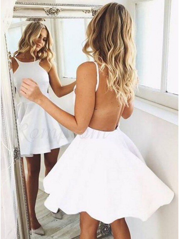 A-Line Bateau Backless Short White Homecoming Dress with Ruched