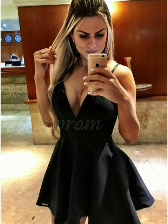 A Line Deep V Neck Satin Little Black Dress 6299 Only Romprom