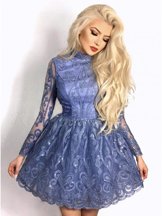 A-Line High Neck Long Sleeves Above-Knee Lavender Homecoming Prom Dress