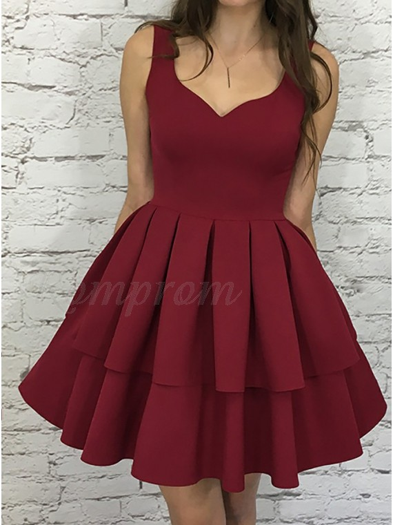 ae9feaeb57 A-Line Scoop Sleeveless Short Tiered Burgundy Homecoming Party Dress ...