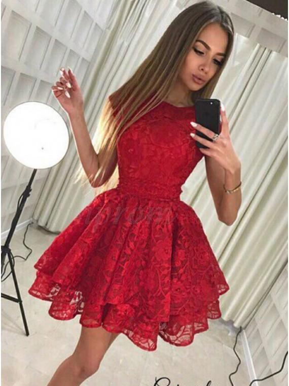 A-Line Round Neck Cap Sleeves Short Red Lace Tiered Homecoming Dress with Bowknot