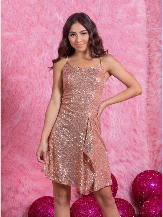 Pink Sequin Short Homecoming Dress