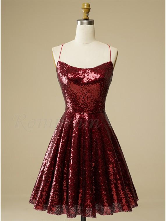 Sequin Criss-Cross Straps Burgundy Homecoming Dress