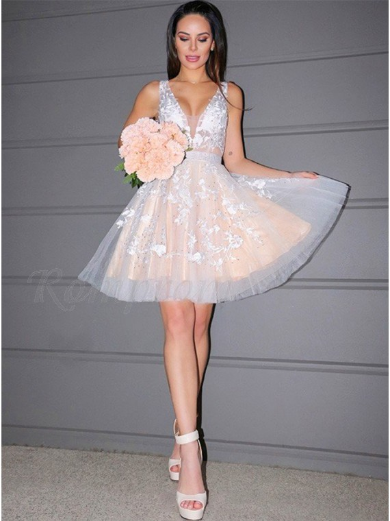 A Line Ivory Appliques Homecoming Dress