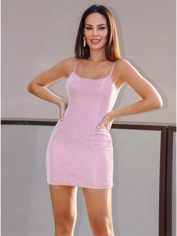 Sheath Glitter Pink Homecoming Dress