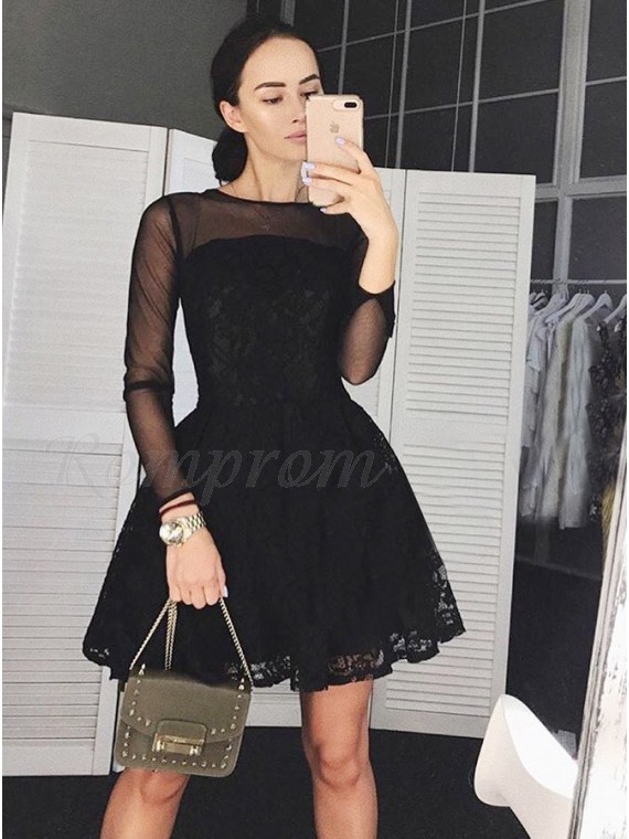 A-Line Round Neck Long Sleeves Above-Knee Black Lace Homecoming Dress
