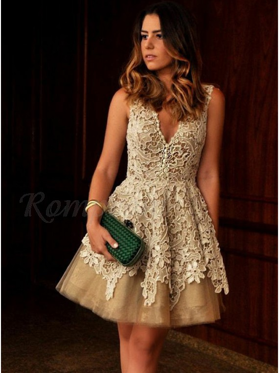 A-Line V-Neck Champagne Above-Knee Homecoming Dress with Appliques
