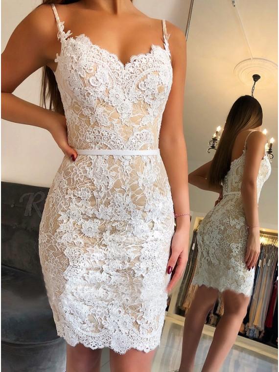 Sheath Spaghetti Straps Above-Knee White Lace Homecoming Dress