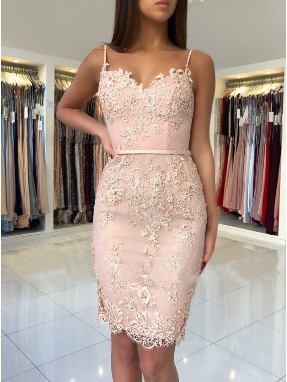 Sheath Spaghetti Straps Short Pink Party Dress with Appliques