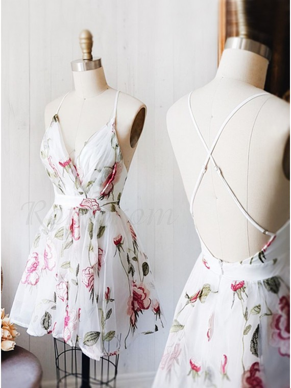 A-Line V-Neck Criss-Cross Straps White Printed Chiffon Homecoming Dress