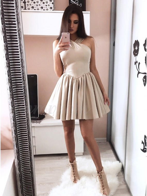 A-Line Cross-Neck Short Champagne Homecoming Dress with Pleats