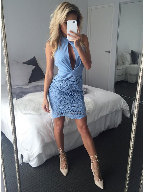 Sheath Jewel Above-Knee Blue Homecoming Cocktail Dress with Lace Keyhole