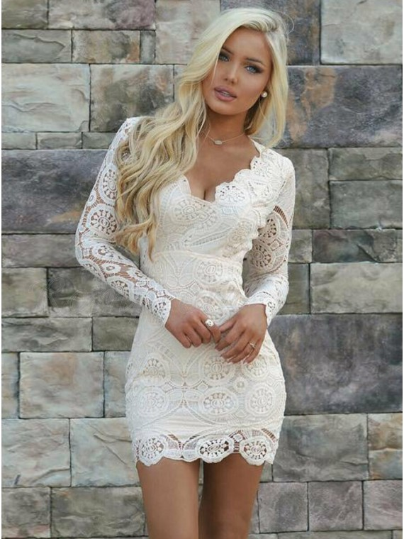 9fffebc3a878 Sheath V-Neck Long Sleeves Open Back Short White Lace Homecoming ...