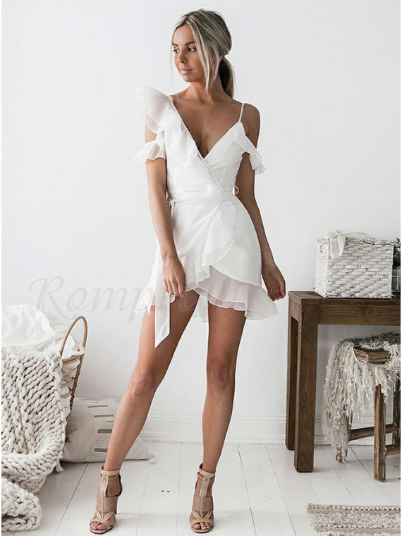 Sheath V-Neck Short Sleeves Short White Chiffon Homecoming Cocktail Dress with Ruffles