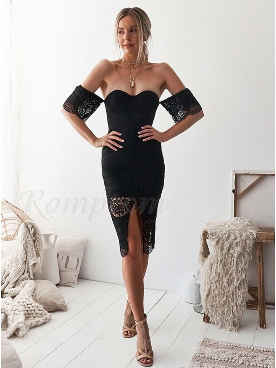 Sheath Off-the-Shoulder Short Sleeves Knee-Length Black Lace Homecoming Cocktail Dress