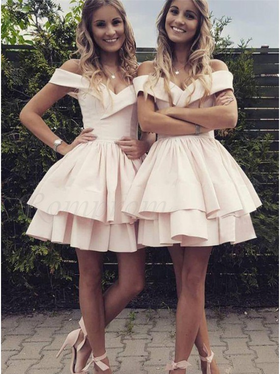 A-Line Off-the-Shoulder Above-Knee Pearl Pink Tiered Homecoming Dress
