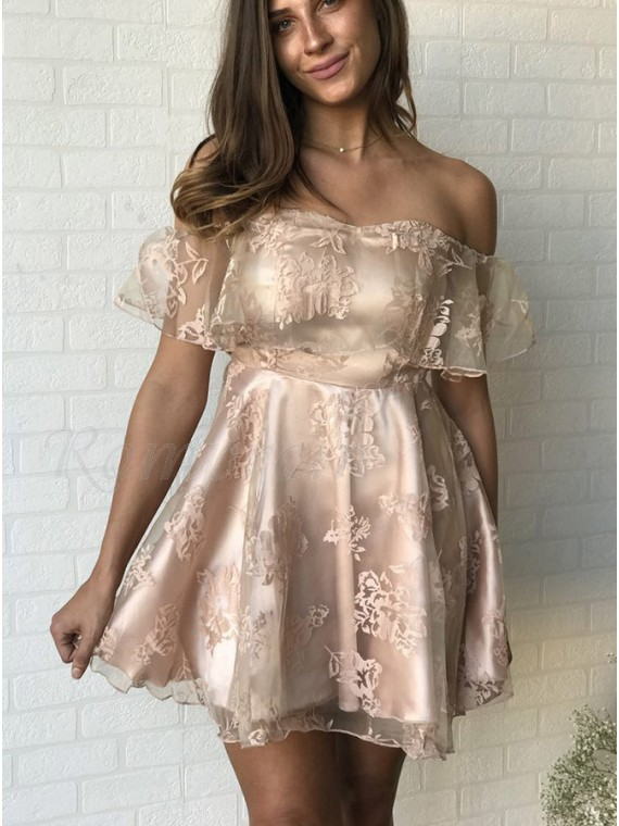 A-Line Off-the-Shoulder Short Light Champagne Organza Homecoming ... 2c1a4b0a0