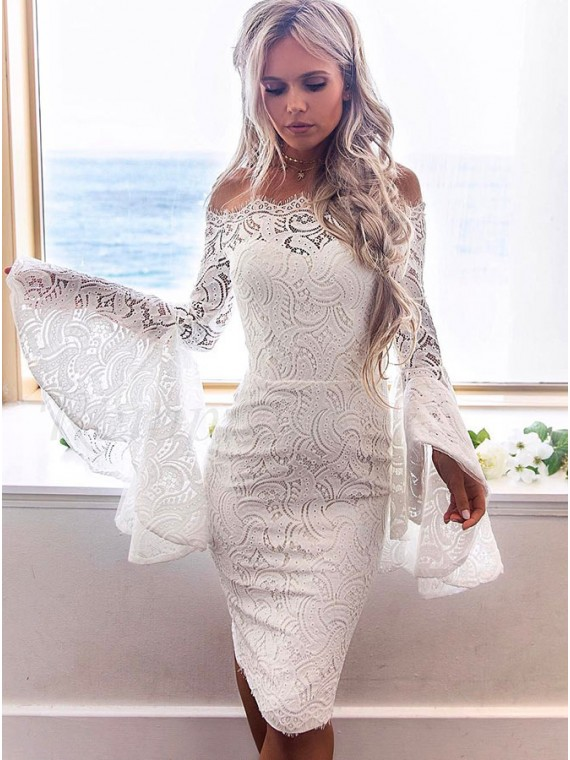 b8668b994d5 Sheath Off-the-Shoulder Bell Sleeves Knee-Length White Lace ...